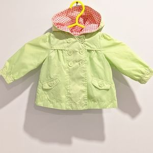 2/$20 green nylon rain jacket coat 12 months